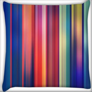 Snoogg Horizontal Multicolor Design Digitally Printed Cushion Cover Pillow 16 x 16 Inch