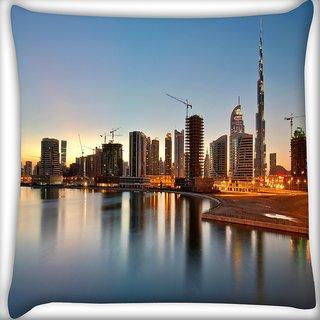 Snoogg Dubai The Dream City Digitally Printed Cushion Cover Pillow 16 x 16 Inch