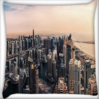 Snoogg Amazing View Of Dubai Digitally Printed Cushion Cover Pillow 16 x 16 Inch