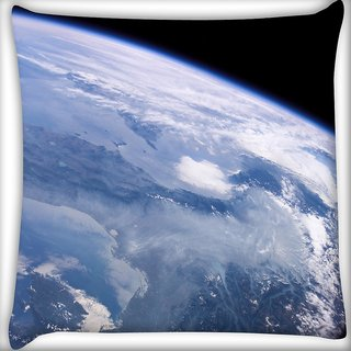 Snoogg Satelite View Of Earth Digitally Printed Cushion Cover Pillow 16 x 16 Inch
