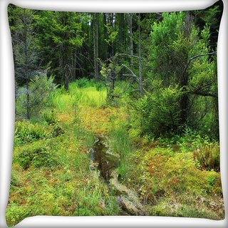 Snoogg Small Pond In Tree Digitally Printed Cushion Cover Pillow 16 x 16 Inch