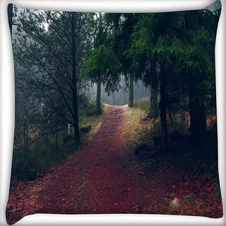 Snoogg Red Road Forest Digitally Printed Cushion Cover Pillow 16 x 16 Inch