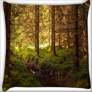 Snoogg Dried Yellow Forest Digitally Printed Cushion Cover Pillow 16 x 16 Inch