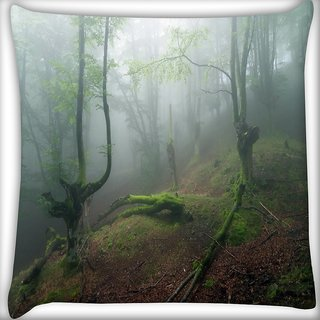 Snoogg Smkoed Dense Tree Digitally Printed Cushion Cover Pillow 16 x 16 Inch