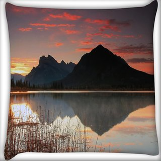 Snoogg Mountain And River Digitally Printed Cushion Cover Pillow 16 x 16 Inch