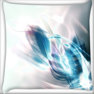 Snoogg Abstract Blue And White Pattern Design Digitally Printed Cushion Cover Pillow 16 x 16 Inch