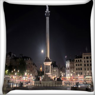 Snoogg Wonders In The City Digitally Printed Cushion Cover Pillow 16 x 16 Inch