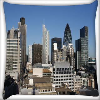 Snoogg Abstract Buildings Digitally Printed Cushion Cover Pillow 16 x 16 Inch