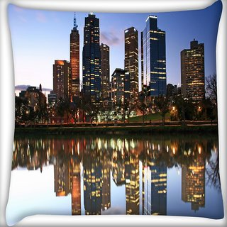 Snoogg River Side Buildings Digitally Printed Cushion Cover Pillow 16 x 16 Inch