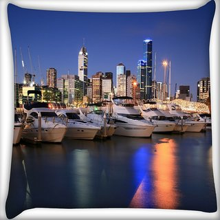 Snoogg White Boats Digitally Printed Cushion Cover Pillow 16 x 16 Inch