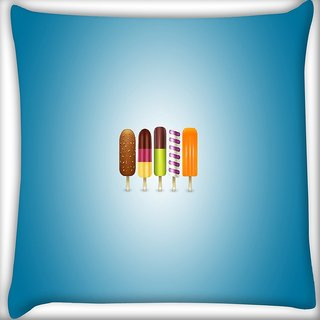 Snoogg Icecreams Digitally Printed Cushion Cover Pillow 16 x 16 Inch