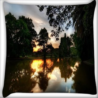 Snoogg Evening At Lake Side Digitally Printed Cushion Cover Pillow 16 x 16 Inch