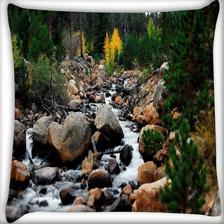 Snoogg Big Stones Digitally Printed Cushion Cover Pillow 16 x 16 Inch