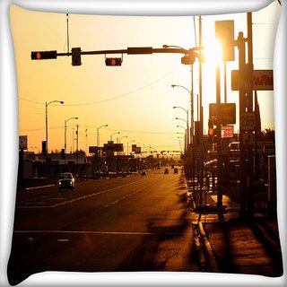 Snoogg Evening Roads Digitally Printed Cushion Cover Pillow 16 x 16 Inch
