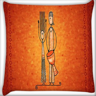 Snoogg Banjo Man Digitally Printed Cushion Cover Pillow 16 x 16 Inch