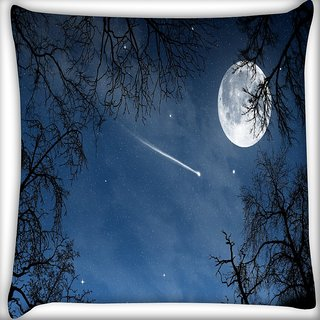 Snoogg Falling Stars Digitally Printed Cushion Cover Pillow 16 x 16 Inch