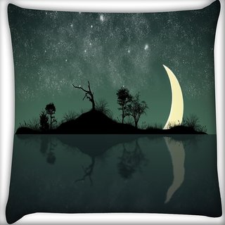 Snoogg Half Moon Digitally Printed Cushion Cover Pillow 16 x 16 Inch