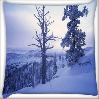 Snoogg Frozen Tree Digitally Printed Cushion Cover Pillow 16 x 16 Inch