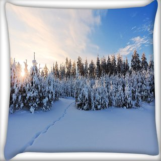 Snoogg Snow Region Digitally Printed Cushion Cover Pillow 16 x 16 Inch