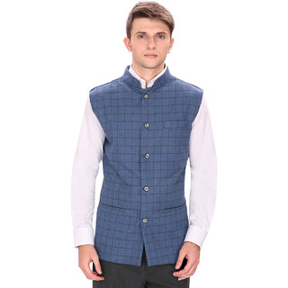 Routeen Blue Checks 100% Cotton Casual Slim Jacket