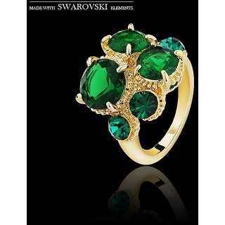 SWAROVSKI Element Ring For Women Latest Style Green Crystal Statement Ring