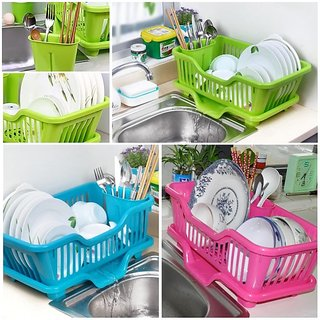 Kitchen Plastic Draining Tray Dish Drainer Drying Rack Tray Sink Holder Basket