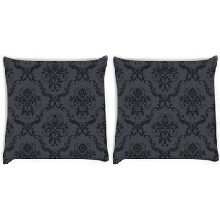 Snoogg Pack Of 2 Grey And Black Pattern Digitally Printed Cushion Cover Pillow 8 X 8 Inch