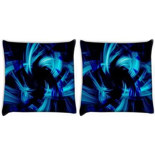 Snoogg Pack Of 2 Abstract Blue Smoke Digitally Printed Cushion Cover Pillow 8 X 8 Inch