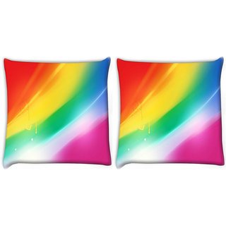Snoogg Pack Of 2 Rainbow Color Digitally Printed Cushion Cover Pillow 8 X 8 Inch