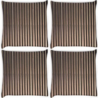 Snoogg Pack Of 4 Black Strips Digitally Printed Cushion Cover Pillow 8 X 8 Inch