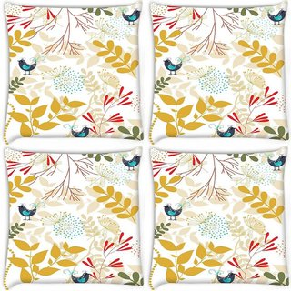 Snoogg Pack Of 4 Bird And Leaves Digitally Printed Cushion Cover Pillow 8 X 8 Inch