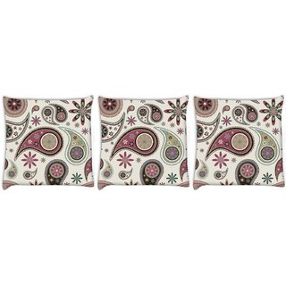 Snoogg Pack Of 3 Dark Green Pattern Digitally Printed Cushion Cover Pillow 8 X 8 Inch