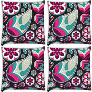 Snoogg Pack Of 4 Grey Pattern Red Digitally Printed Cushion Cover Pillow 8 X 8 Inch