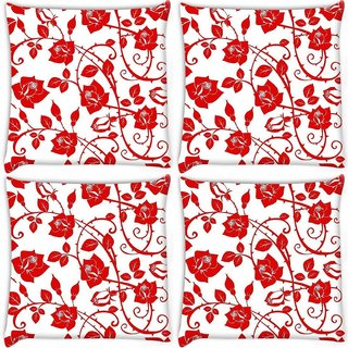 Snoogg Pack Of 4 Red Roses And Leaves Digitally Printed Cushion Cover Pillow 8 X 8 Inch