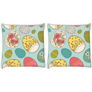 Snoogg Pack Of 2 Multicolor Eggs Digitally Printed Cushion Cover Pillow 8 X 8 Inch