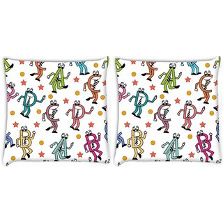 Snoogg Pack Of 2 Dancing Alphabets Digitally Printed Cushion Cover Pillow 8 X 8 Inch