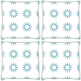 Snoogg Pack Of 4 Blue Sun Digitally Printed Cushion Cover Pillow 8 X 8 Inch