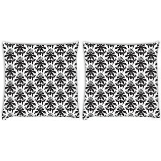 Snoogg Pack Of 2 Dark Black Pattern Digitally Printed Cushion Cover Pillow 8 X 8 Inch