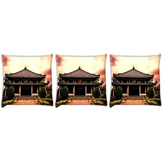 Snoogg Pack Of 3 Shangai Temple Digitally Printed Cushion Cover Pillow 8 X 8 Inch