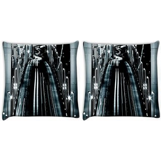 Snoogg Pack Of 2 Nite Road View Digitally Printed Cushion Cover Pillow 8 X 8 Inch
