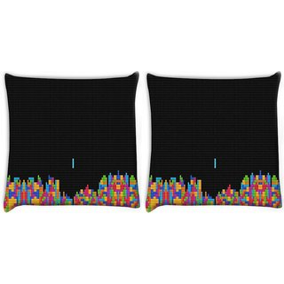 Snoogg Pack Of 2 Computer Game Digitally Printed Cushion Cover Pillow 8 X 8 Inch