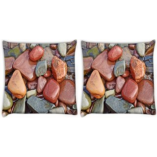 Snoogg Pack Of 2 Colorful Stone Digitally Printed Cushion Cover Pillow 8 X 8 Inch