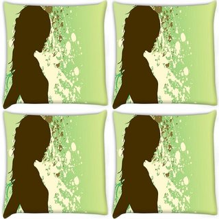 Snoogg Pack Of 4 Girl In Green Digitally Printed Cushion Cover Pillow 8 X 8 Inch