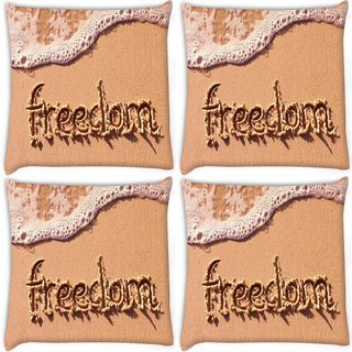 Snoogg Pack Of 4 Freedom Digitally Printed Cushion Cover Pillow 8 X 8 Inch