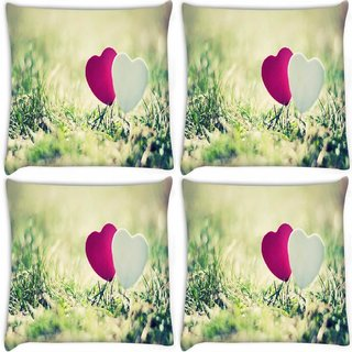 Snoogg Pack Of 4 Two Hearts Digitally Printed Cushion Cover Pillow 8 X 8 Inch