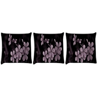 Snoogg Pack Of 3 Grey Flower Digitally Printed Cushion Cover Pillow 8 X 8 Inch