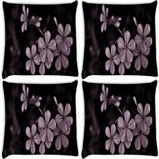 Snoogg Pack Of 4 Grey Flower Digitally Printed Cushion Cover Pillow 8 X 8 Inch