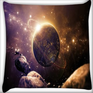 Snoogg Abstract Planet Digitally Printed Cushion Cover Pillow 14 x 14 Inch