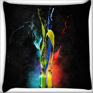 Snoogg Bottles Of Colors Digitally Printed Cushion Cover Pillow 14 x 14 Inch