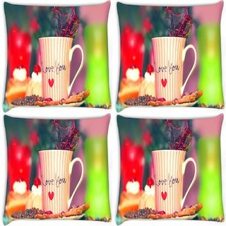Snoogg Pack Of 4 Love You Mug Digitally Printed Cushion Cover Pillow 8 X 8 Inch